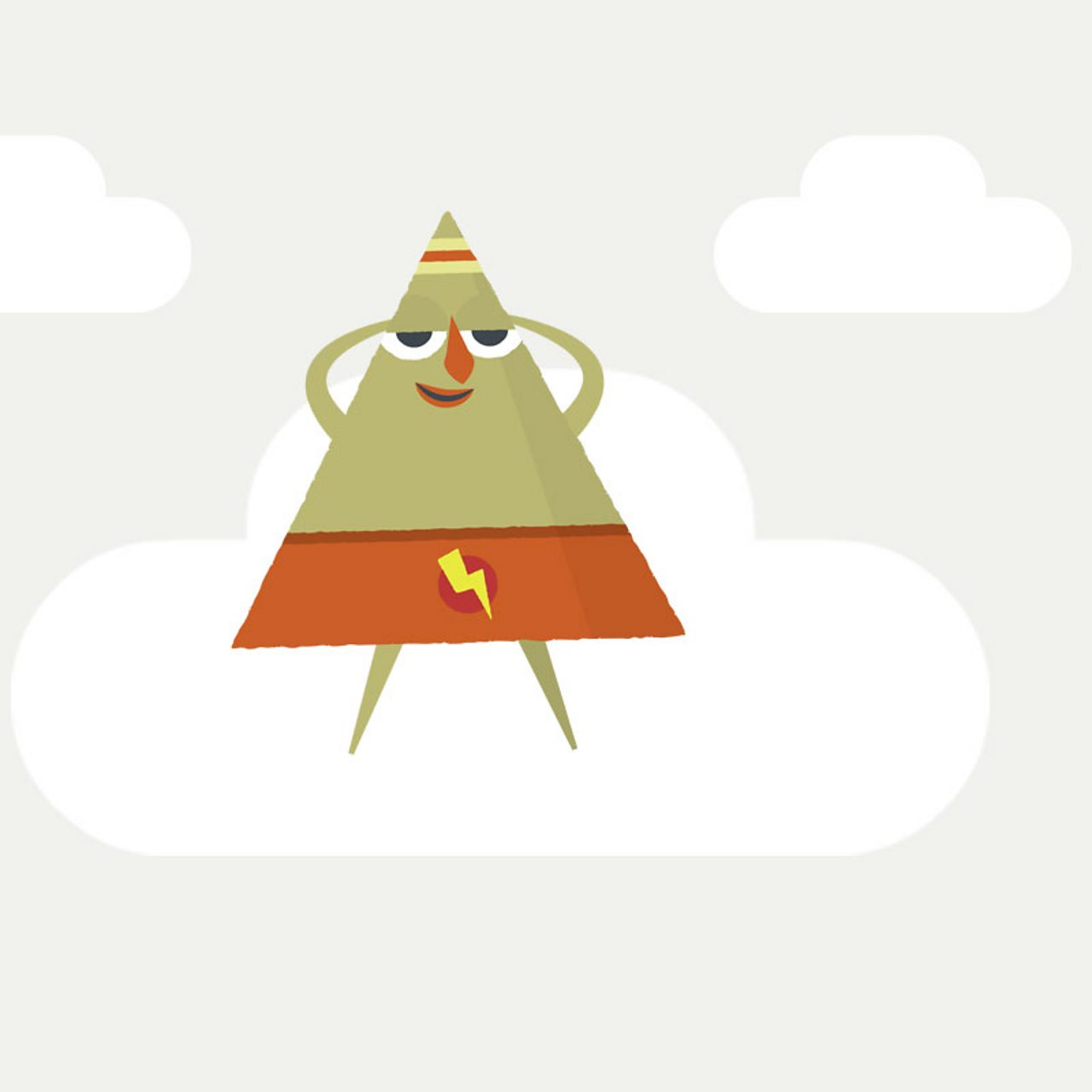 hight resolution of triangle character floating on cloud