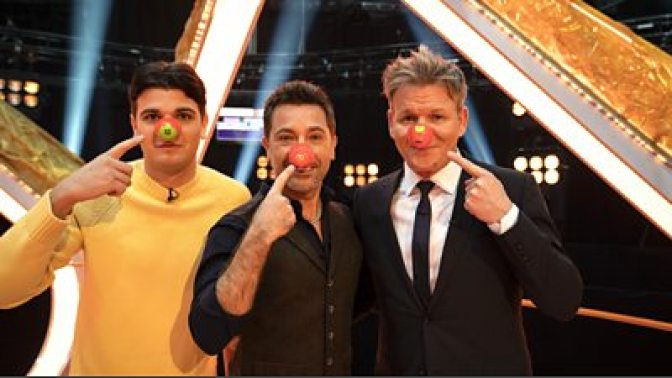 Luciano and Gino D'Acampo with Gordon Ramsay on Comic Relief Red Nose Day 2021