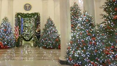 Melania Trump Unveils White House Christmas Decorations Bbc News