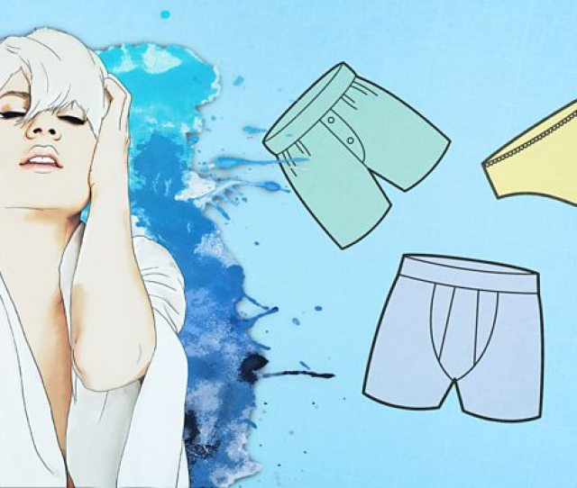Illustration Of Orgasmic Woman Beside Three Pairs Of Male And Female Underwear