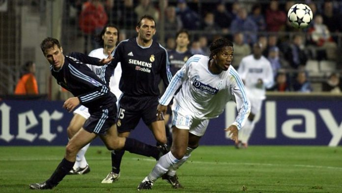 Playing for Marseille against Real Madrid in the Champions League