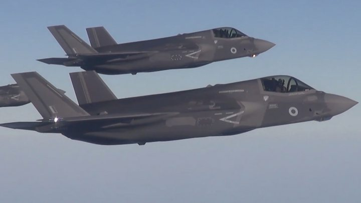 Four RAF F-35 fighter jets land in UK - BBC News