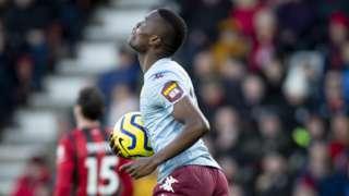 Tanzania's Mbwana Samatta celebrates his first goal for Aston Villa