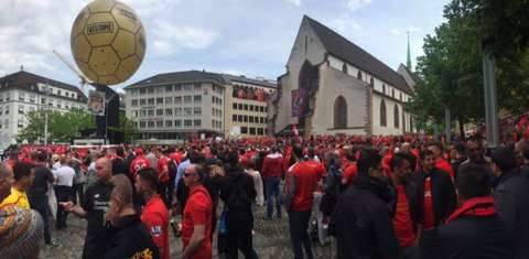 Meanwhile, in Basel's city centre. 🙌 #WeAreLiverpool