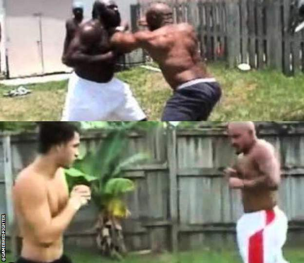 sport Masvidal, Kimbo Slice and Ray pictured in their Miami streetfighing days