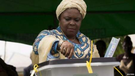 Patience Jonathan votes in Nigeria