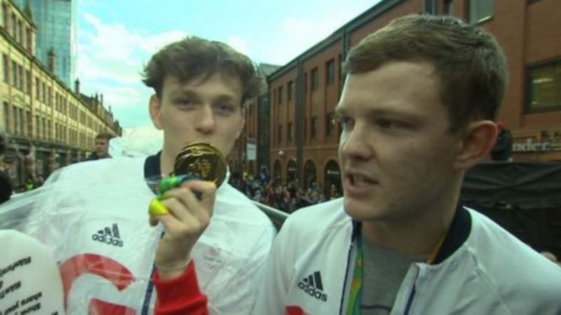 The mystery blaggers were dressed in Team GB tracksuits and wore plastic medals around their necks