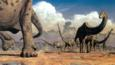 A herd of sauropod dinosaurs migrating during the dry season