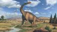 Brachiosaurus, a large sauropod dinosaur, looking round