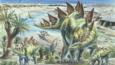 A group of stegosaurus dinosaurs with young