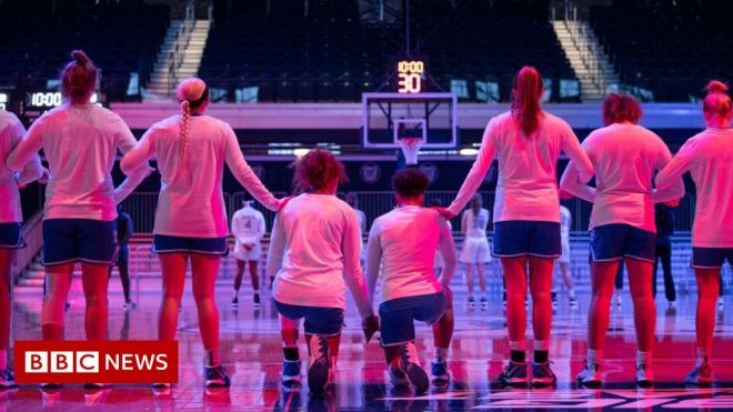 US announcer uses racist slur as basketball players kneel for anthem #world #BBC_News