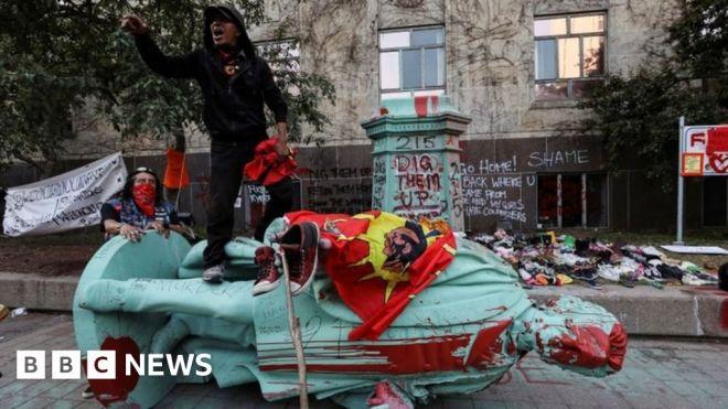Egerton Ryerson: Statue toppled of architect of 'shameful' school system #world #BBC_News