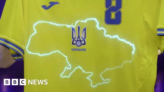 Ukraine's Euro 2020 football kit provokes outrage in Russia #world #BBC_News