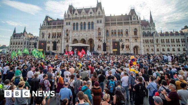 Budapest protest against China's Fudan University campus #world #BBC_News