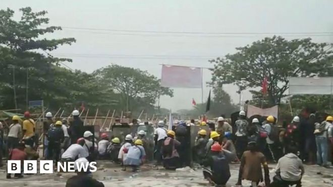 Myanmar protests: Protesters killed in bloody Yangon crackdown #world #BBC_News