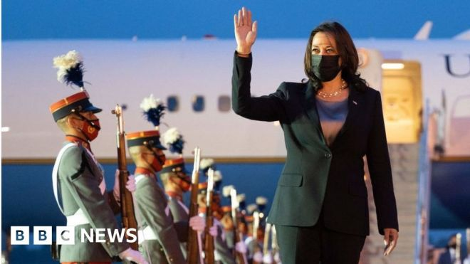 What is Kamala Harris doing on her first foreign visit? #world #BBC_News