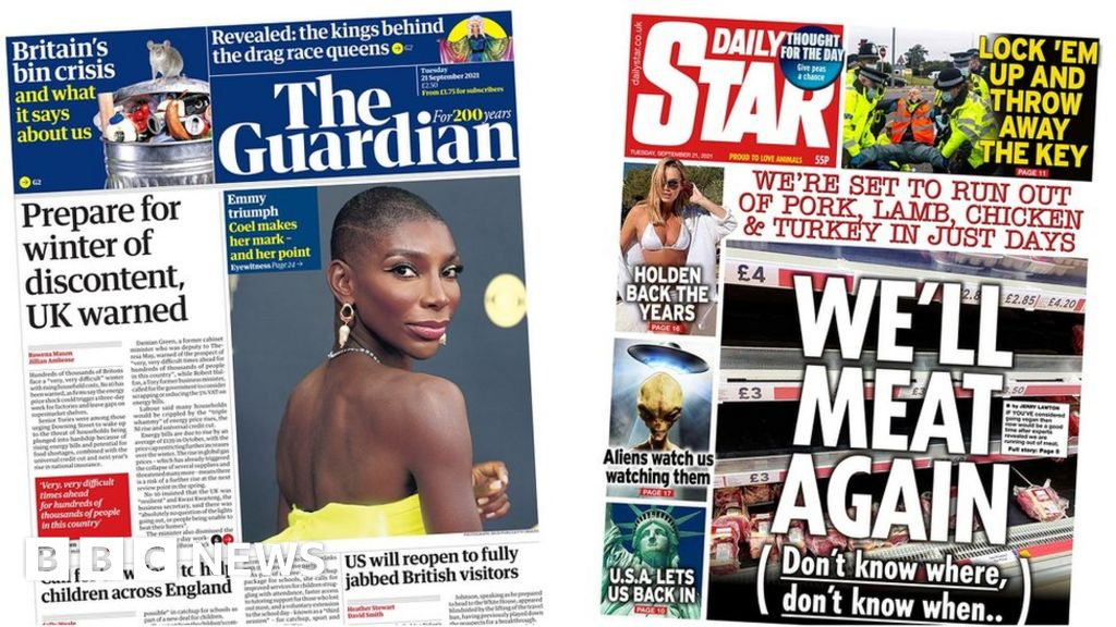 , The Papers: Gas crisis 'spirals' and 'sleepover massacre', The Evepost BBC News