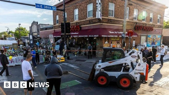 George Floyd Square cleared in Minneapolis #world #BBC_News