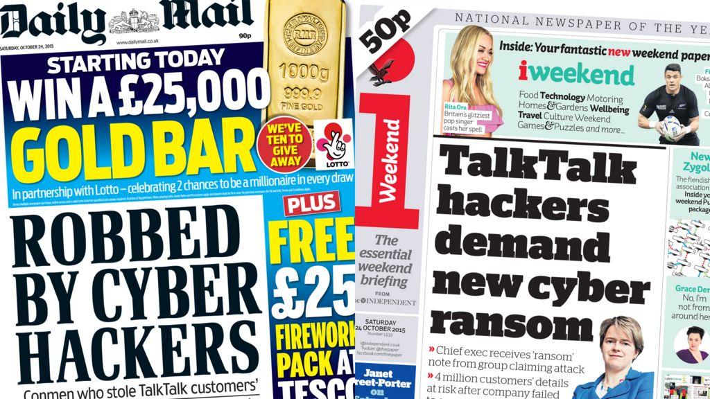 Newspaper headlines TalkTalk cyberattack fraud fears Xi