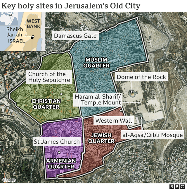 Mapa que muestra los lugares sagrados clave en Jerusalén