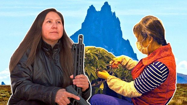 Composite image, Bea Redfeather, Chinese worker on cannabis farm, in front of Shiprock, New Mexico