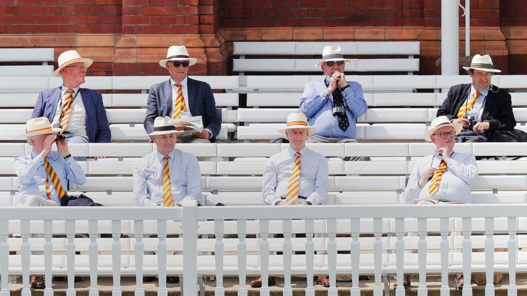 Socially-distanced spectators at Lord's cricket ground