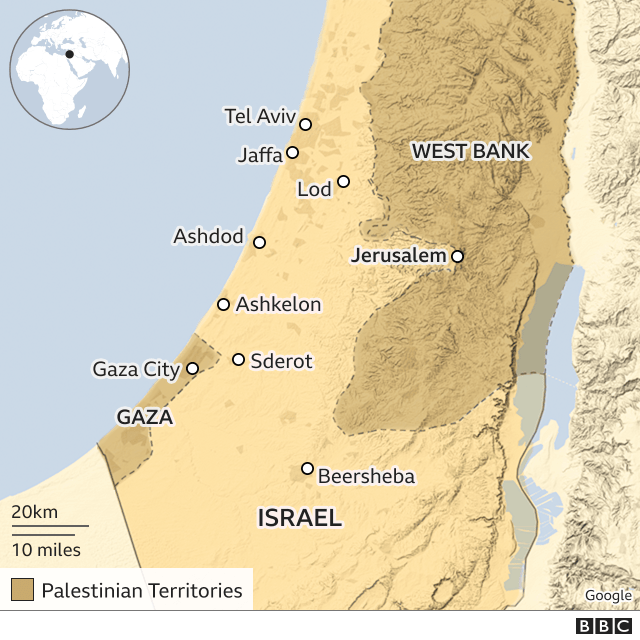 Map showing Israel and the Gaza Strip