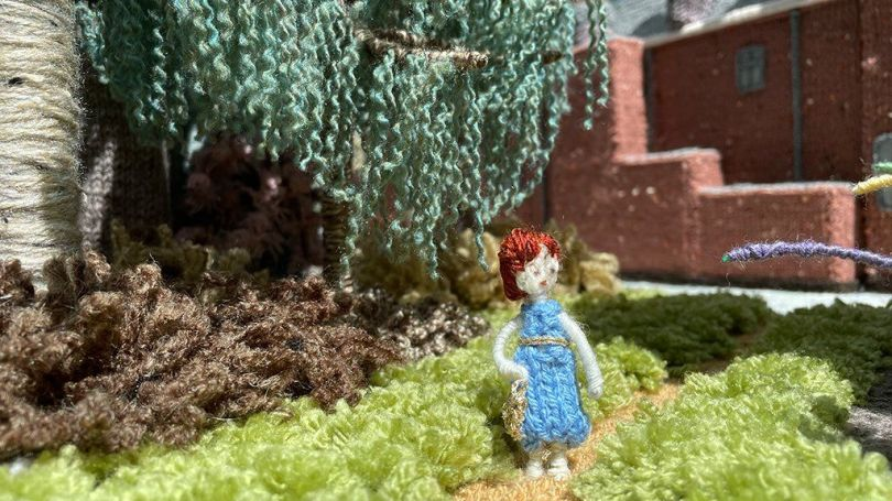 A knitted figure on the miniature Sandringham grounds