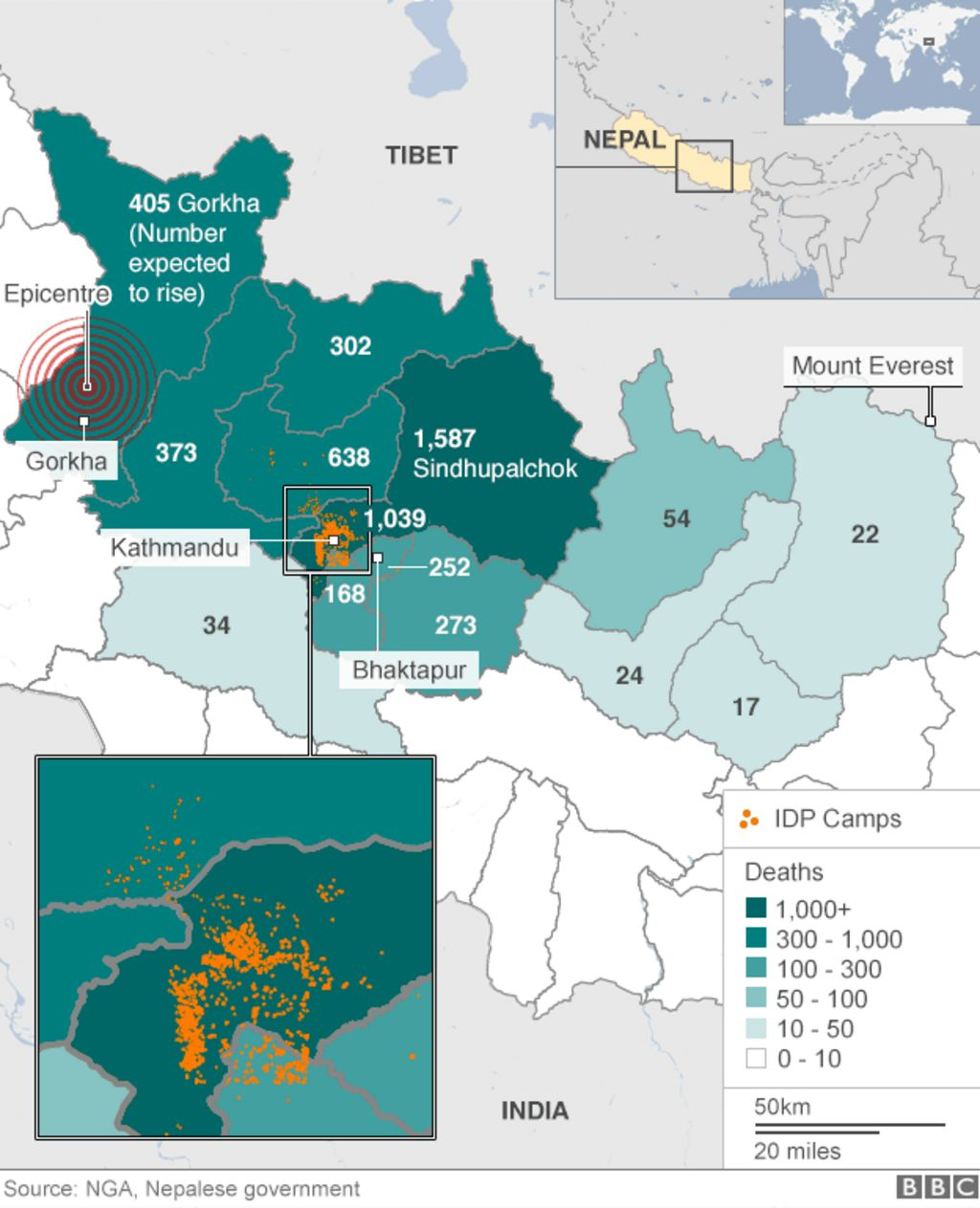 Nepal earthquakes: Devastation in maps and images - BBC News