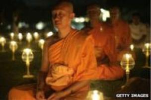 Buddhist monks meditate on Java, Indonesia, in 2007
