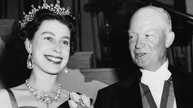 Queen Elizabeth with US President Dwight D Eisenhower in October 1957