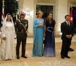Jordan's King Abdullah II, his wife Queen Rania, Queen Noor, mother of the groom, Crown Prince Hamzeh, the groom, his bride Princess Noor, Sherif Asem bin-Nayef and his ex-wife Firouzeh Vokhshouri, parents of the bride, attend the royal wedding on May 27, 2004 in Amman, Jorda