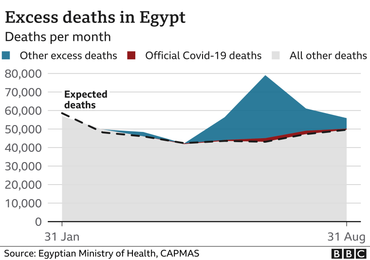 Graph showing Egypt's excess deaths