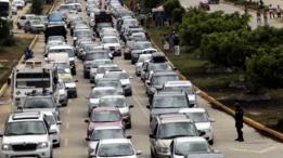 Un atasco de tráfico en México.