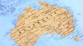 A map of Australia with numerous place names visible in text