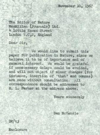 Carta a Nature (Foto: Sociedad de Geología, Archivo McKenzie)