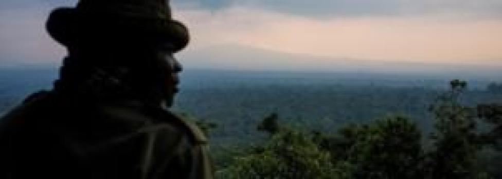View from Rumangabo over the Volcano section of Virunga National Park