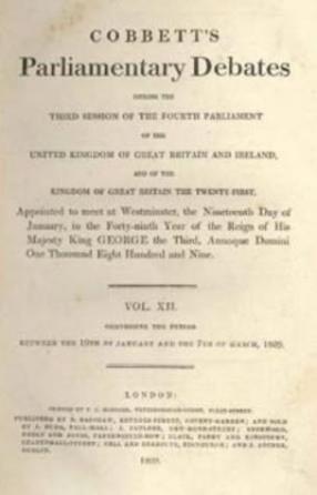 Cobbett's Parliamentary Debates