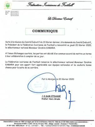 Communiqué de presse de la Côte d'Ivoire annonçant la fin du mandat d'Ibrahim Kamara