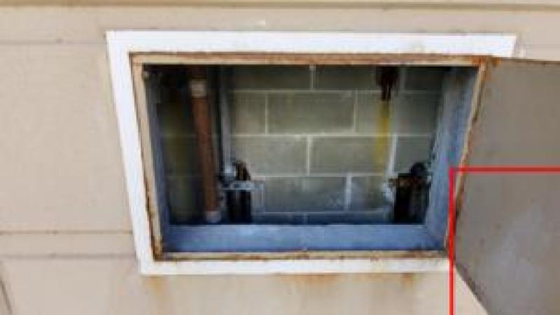 The hatch through which the suspects escaped