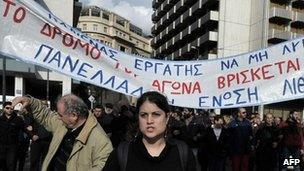 Greek striking workers in Athens in December 2012