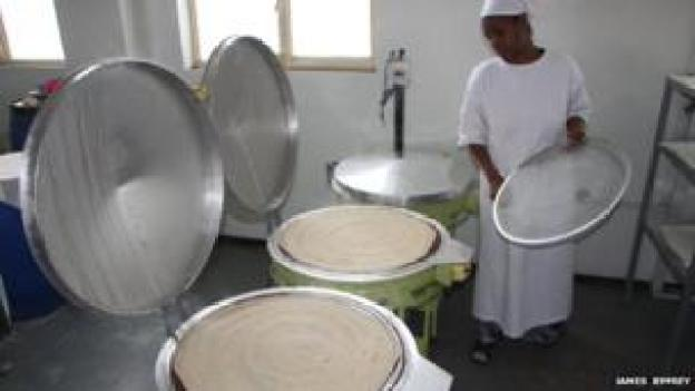 Injera being made at Mama Fresh