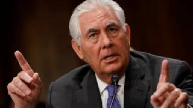 Rex Tillerson speaks at the Senate Foreign Relations Committee hearing in Washington. Photo: 13 June 2017
