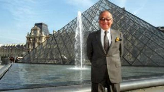 I M Pei on the 10th anniversary of the Louvre Pyramid, April 1999