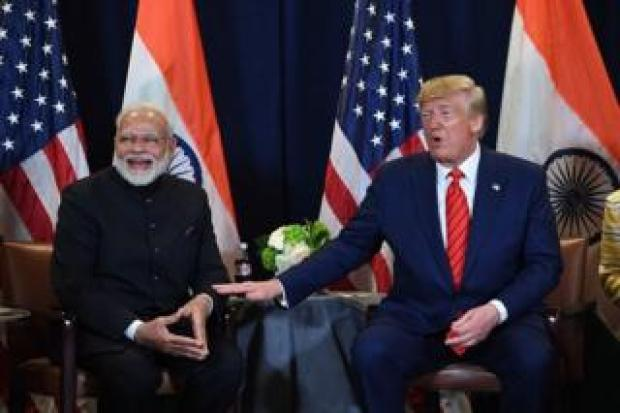 US President Donald Trump and Indian Prime Minister Narendra Modi hold a meeting at UN Headquarters in New York, September 24, 2019