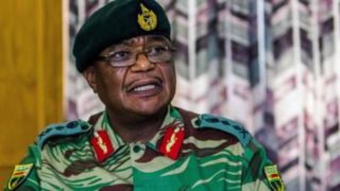 Zimbabwe Army General Constantino Chiwenga Commander of the Zimbabwe Defence Forces addresses a media conference held at the Zimbabwean Army Headquarters on November 13, 2017 i