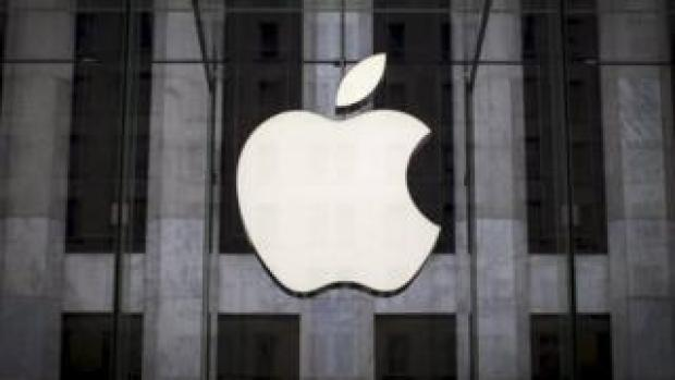 Apple logo on Apple store