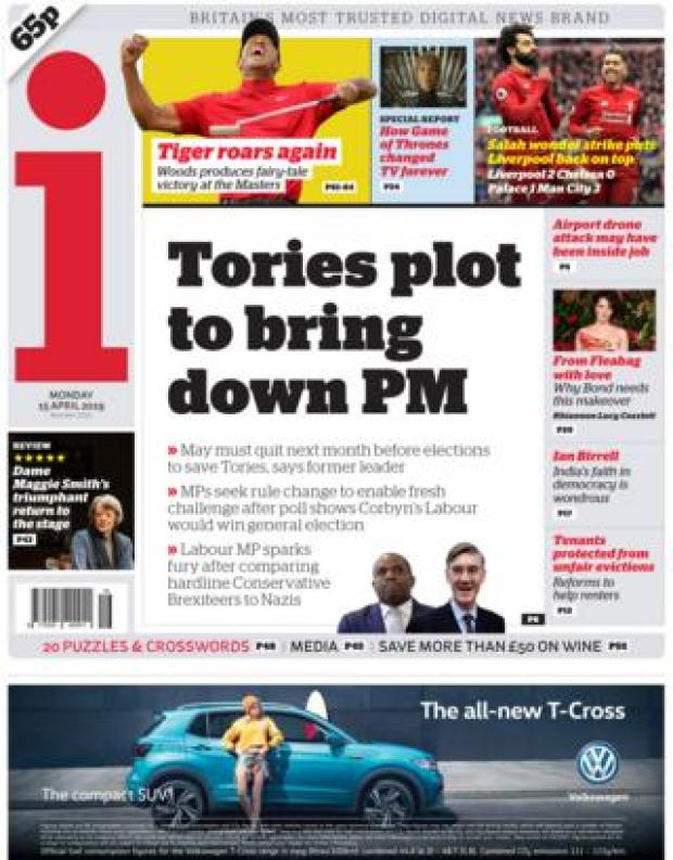 The i front page, 15/4/19