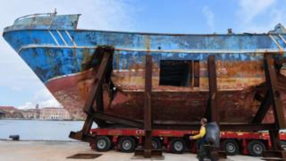"""The fishing vessel """"Barca Nostra"""" (Our Ship) that sank on April 18, 2015 trapping hundreds of migrants in its hull, is being installed in Venice's former shipyards as part of the centerpiece of a new art project by Swiss-Icelandic artist Christoph Buechel, prior to the the 58th International Art Exhibition of the Venice Biennale, on May 7, 2019 in Venice. - The 58th International Art Exhibition will open to the public from May 11 to November 24, 2019."""