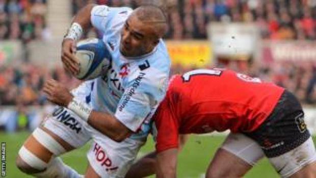 Simon Zebo scored a first-half try for Racing in Belfast before being replaced at half-time